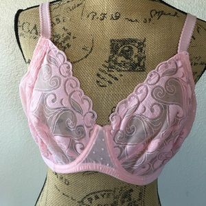 Gillian & O'malley Luxe pink lace bra